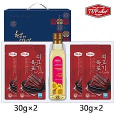 탑셰프 페트해바라기유 쇠고기육포30g4P(5종)트레이